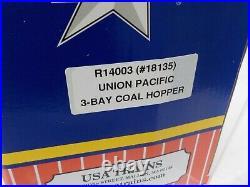 4 Car Set USA Trains R14003 70-Ton 3-Bay Hopper's Union Pacific withMetal Wheels