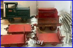 Antique 1920s Buddy L Industrial Coal Train Pressed Steel Railroad 14 piece set