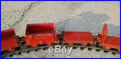 Antique 1920s Buddy L Industrial Coal Train Pressed Steel Railroad 18 piece set