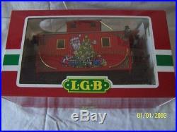 G SCALE/ LGB / TRAIN SET / 26' brass trk, 2 Xmas cars, 2 houses, orig. Boxes