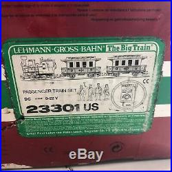 LGB 23301 US Passenger Train Set, 1992, with 2 Cars, 4 extra people, G scale