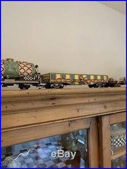 Mackenzie Childs Painted Train Set LGB Electric Toy Made in Germany Brass Tracks