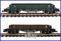 Train Niederbordwagen, 2er Set, grün und / oder braun, Edelstahlräder, Spur G