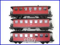 Train Set 3 Personenwagen, rot, Metalltürlgriffe, Spur G Gartenbahn