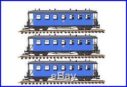 Train Set 3 Reko-Personenwagen, Runddach, blau, Spur G, für LGB Kupplung