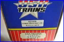 USA Trains G SCALE SET OF 5 ALUMINUM BROADWAY LIMITED PASSENGER CARS, UNRUN, OB